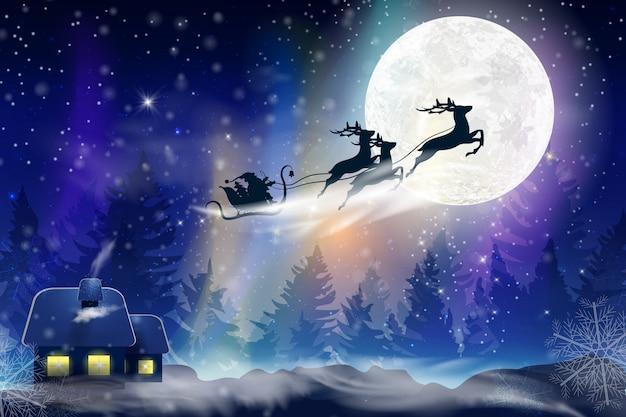 Cielo blu invernale con la neve che cade, fiocchi di neve con un paesaggio invernale con la luna piena. babbo natale che vola su una slitta con un cervo. sfondo invernale festivo per natale e capodanno.