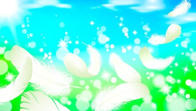 Cielo blu luminoso realistico 3d dell'erba verde del paesaggio soleggiato della molla