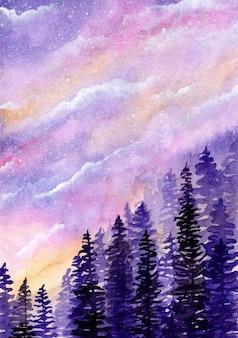 Cielo da sogno con alberi di pino sfondo acquerello