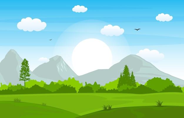 Cielo del paesaggio della natura dell'albero di green grass delle colline delle montagne