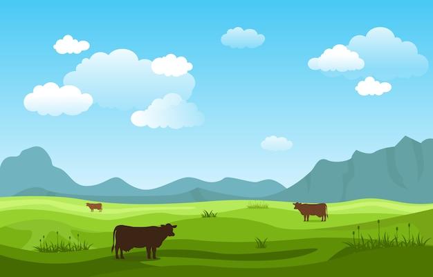 Cielo del paesaggio della natura dell'erba verde delle colline delle montagne