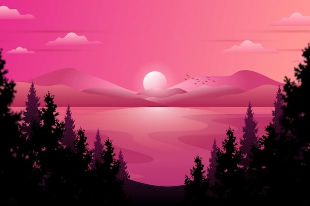 Cielo e mare di sera di paesaggio con la notte stellata e legno di pino sull'illustrazione della montagna