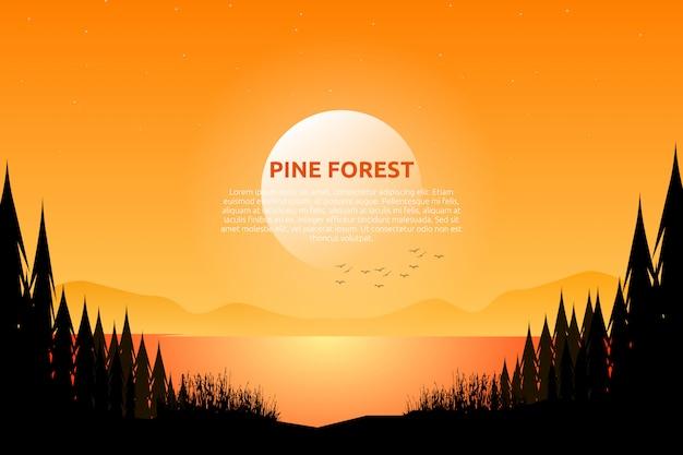 Cielo e mare di sera di paesaggio con la notte stellata e legno di pino sulla montagna