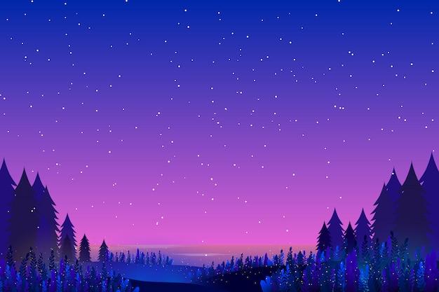 Cielo e mare sfondo stellato di notte