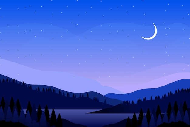 Cielo notturno blu con l'illustrazione del paesaggio della montagna