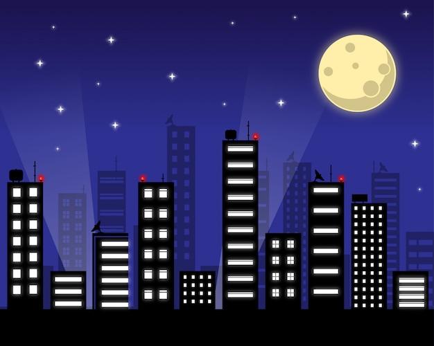 Cielo notturno stellato con la luna