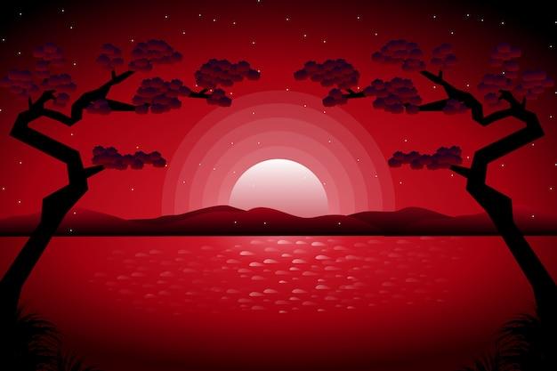 Cielo notturno stellato con paesaggio fluviale in stile giapponese