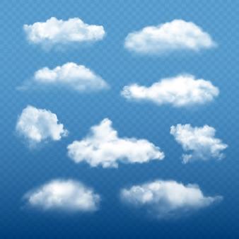 Cielo nuvoloso realistico. belle nuvole bianche condensa raccolta meteo elementi vettoriali