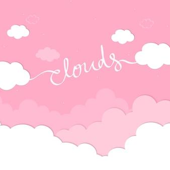 Cielo rosa con il vettore della carta da parati delle nuvole