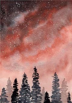 Cielo rosso con sfondo acquerello alberi di pino