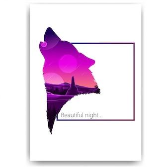 Cielo stellato, montagne, paesaggio sotto forma di una sagoma di un lupo