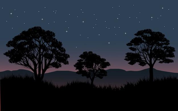 Cielo stellato sopra la foresta con la siluetta dell'albero