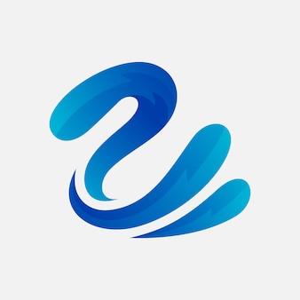 Cigno con design logo splash acqua