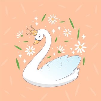 Cigno principessa dei cartoni animati circondato da fiori e foglie