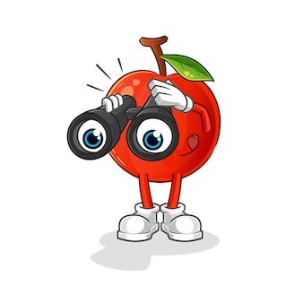 Ciliegia con il carattere del binocolo. mascotte dei cartoni animati