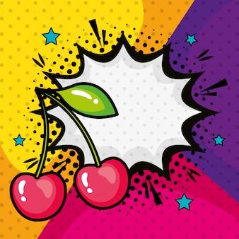 Ciliegie con icona di stile pop art esplosione