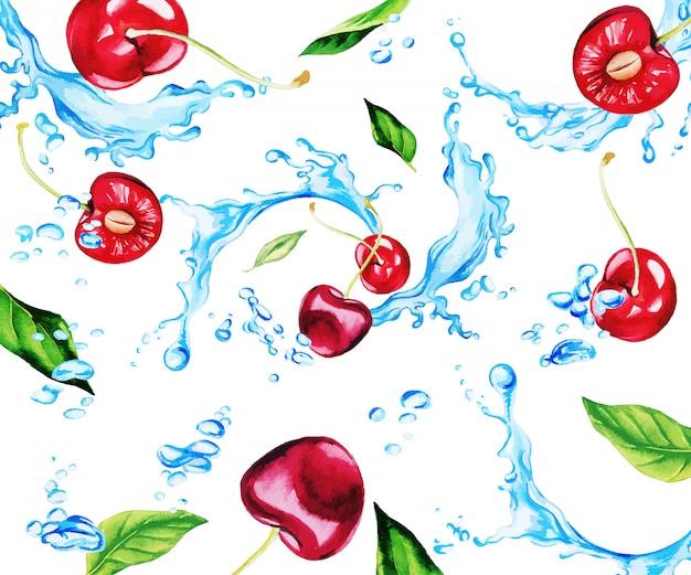 Ciliegie e foglie fresche dell'acquerello fra gli spruzzi di acqua