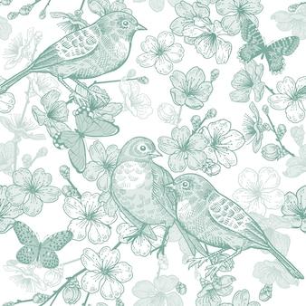 Ciliegio giapponese, uccelli e farfalle. modello senza soluzione di continuità verde e bianco