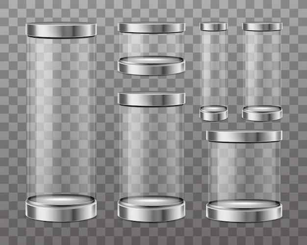 Cilindri di vetro trasparente