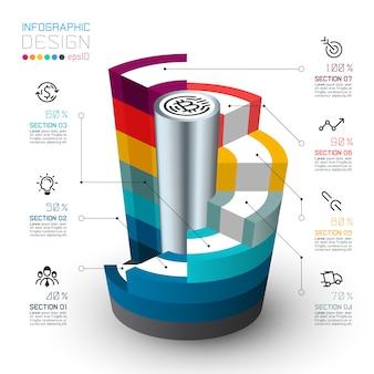 Cilindri isometrici colorati di infografica