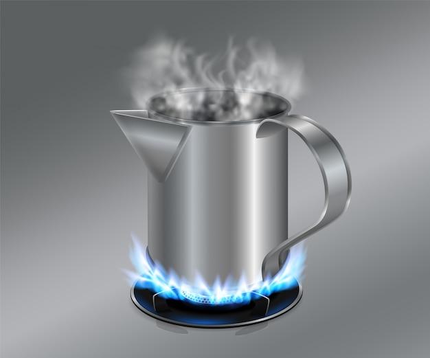 Cilindro in acciaio inox per antica macchina da caffè nera usato su fornello a gas per infusione di caffè ancora popolare in asia