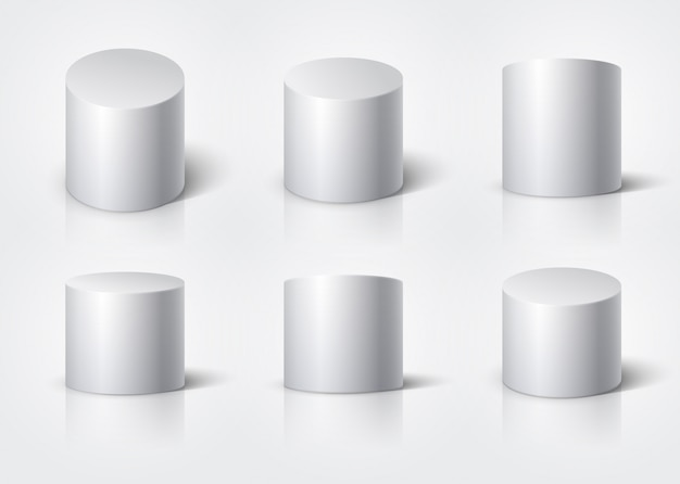 Cilindro realistico bianco, podio rotondo vuoto stand isolato. insieme di vettore di forme geometriche 3d