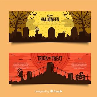 Cimiteri su una notte di luna piena piatta banner di halloween