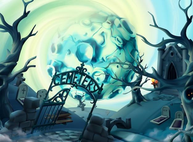 Cimitero, illustrazione di halloween. paesaggio del fumetto, grafica vettoriale