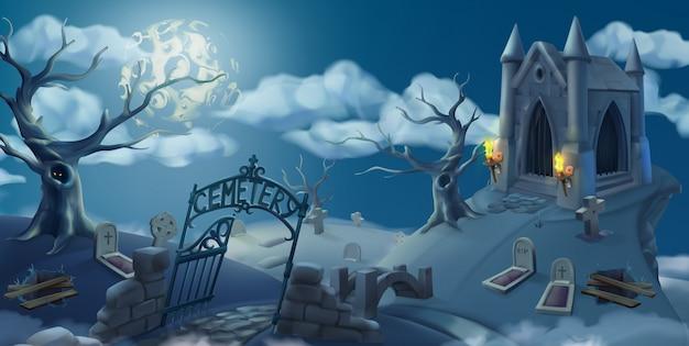 Cimitero, illustrazione di halloween. panorama del paesaggio, grafica vettoriale