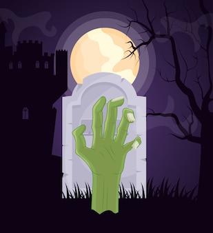 Cimitero scuro di halloween con la mano di zombie