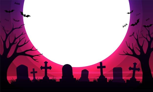 Cimitero spaventoso con tombe e la luna