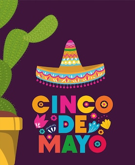 Cinco de mayo card con cactus e cappello