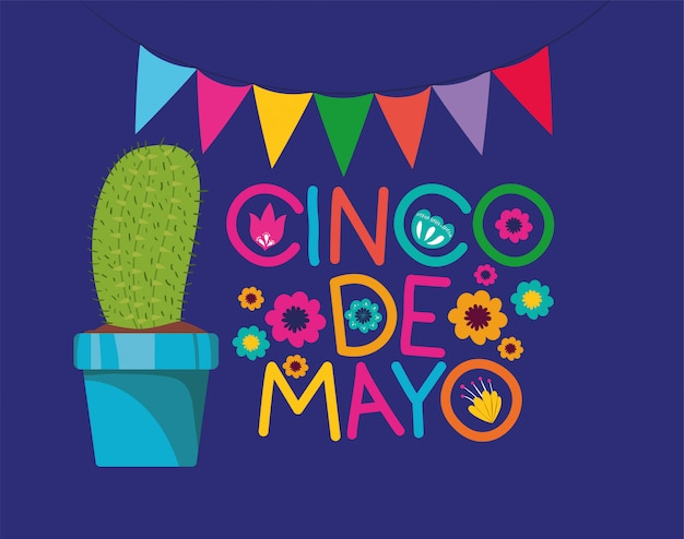 Cinco de mayo card con cactus e ghirlande
