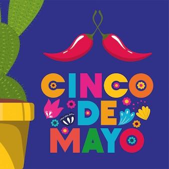 Cinco de mayo card con cactus e peperoncino