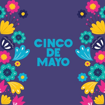 Cinco de mayo card con cornice floreale