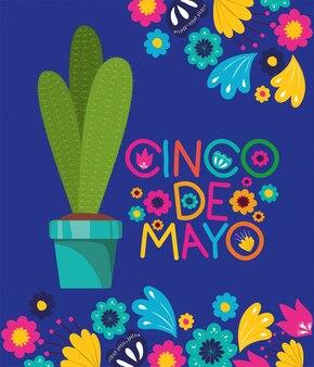 Cinco de mayo card con fiori e cactu