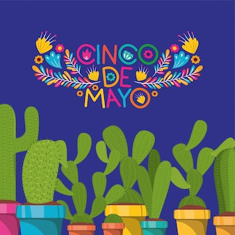 Cinco de mayo card con fiori e cactus