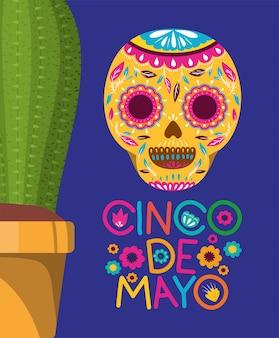 Cinco de mayo card con maschera mortuaria e cactus