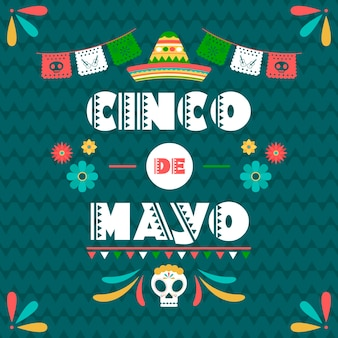 Cinco de mayo con bandiera messicana e teschio