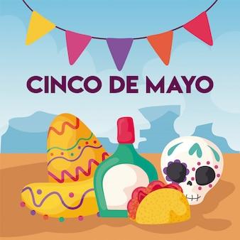 Cinco de mayo con cappello e tequila