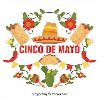 Cinco de mayo sfondo con cucina tradizionale e decorazione floreale