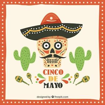 Cinco de mayo sfondo con teschio messicano