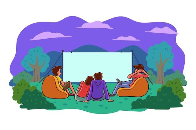 Cinema all'aperto design piatto