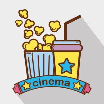 Cinema con bevande alla soda popcorn