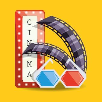 Cinema con filmstrip e occhiali 3d design