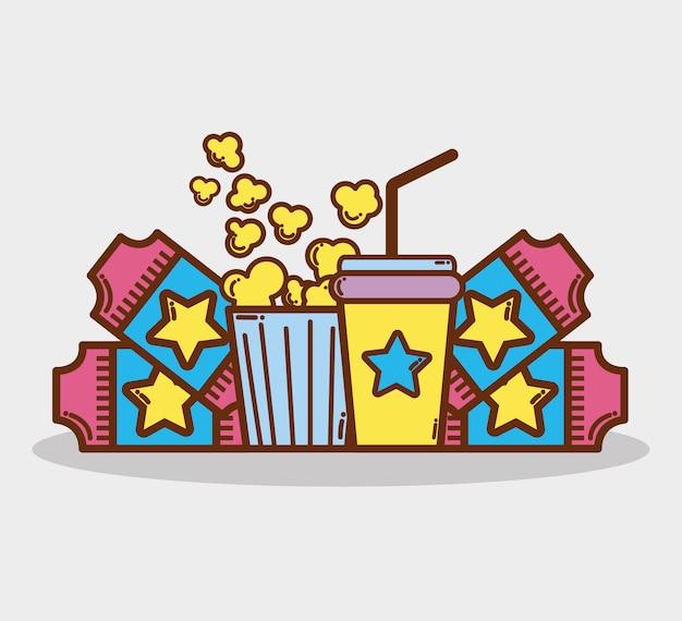 Cinema con popcorn, soda e biglietti