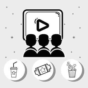Cinema con popcorn, soda, film e biglietti