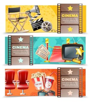 Cinema movie 3 orizzontale retro banners
