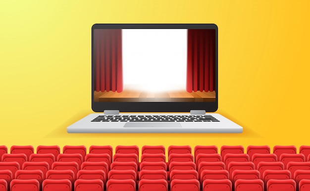 Cinema online, video e film in streaming con il concetto di dispositivo a casa. spettacolo teatrale tenda rossa sullo schermo del laptop con sedili rossi vuoti. sfondo giallo