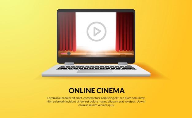 Cinema online, video e film in streaming con il concetto di dispositivo a casa. spettacolo teatrale tenda rossa sullo schermo della tecnologia del dispositivo portatile.